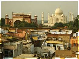 Taj Mahal in Distrance Slums